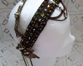 Guinevere's tribal fusion headpiece!! Bronze, Gold, Beige, two band Tribal Bellydance headdress.