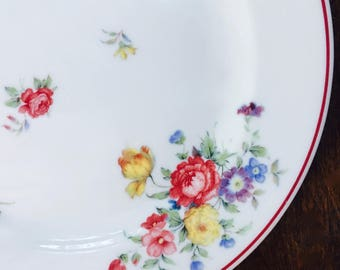 Lunch Plate White with Scattered Tulips and Roses, Pasadena by Shenango China ca. 1959