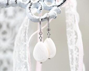 796_ Silver mother of pearls earrings, MOP earrings, White drop earrings, Drop MOP earrings, Cubic Zirconia earrings CZ Teardrop earrings.