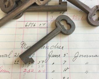 Vintage brass skeleton Key - antique door key - vintage skeleton key - Brass room Key - hollow barrel- fancy key - old brass key charm
