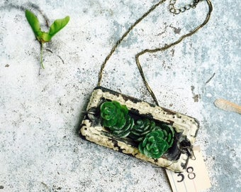 Succulent Planter||Vintage Hardware Jewelry||Found Object Necklace||Xeric Gardening||Cactus||Hens and Chicks