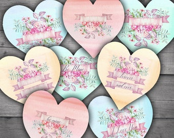 Valentines Watercolor Hearts - Digital Collage Sheet Download