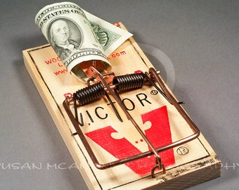 Rat Trap Clipart, Hundred Dollar Bill, Greed Illustration, Clip Art, Banner Art, Photograph Background, Photoshop Overlay, Compositing