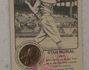 new just in stan musial Authenticated Ink Coin Card