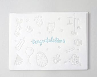 Baby Boy Letterpress card - Toy illustrations