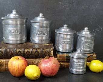 Set Of 5 French Canisters. Aluminum Kitchen Canisters. French Kitchen  Storage Containers. Tins