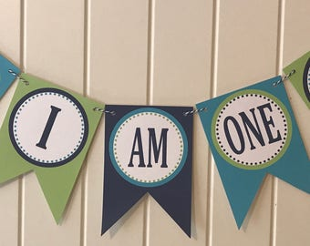 PREPPY ALLIGATOR Highchair Banner 1st Birthday Party Lime Green Blue Navy - Party Packs Available