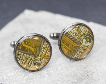 Sale Last one left - Circuit board Cuff links with olive green circuit board
