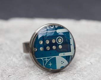Sale Last one left - Circuit board ring with blue circuit board