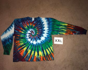 Tie Dye T-Shirt ~Rainbow Nautilus Spiral with White Stripes i_7281 Long Sleeve Adult 2XL