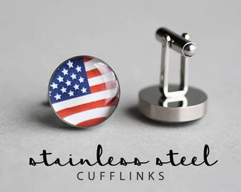 USA cufflinks, Mens cufflinks, American Flag cufflinks, Stainless steel cufflinks, patriotic gift, gift for him