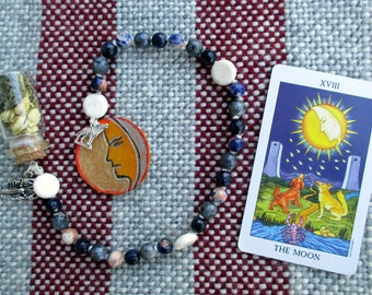 The Moon Tarot Prayer Beads with Charm Bottle - instinct, mysteries, otherness, the subconscious, magic