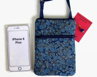 Small Purse, Cell Phone Bag, Small Purse, iPhone Case, Extra Long Strap, Blue on Blue Batik Fabric