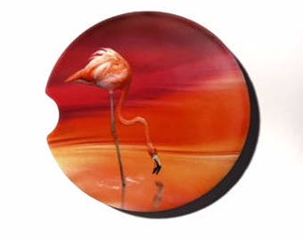 Flamingo Car Coaster Cup Holder Coaster Gift for Her Mothers Day Gift Sandstone coasters