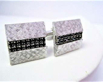 Black Rhinestone Cuff Links, Unsigned, Brushed Silver Tone