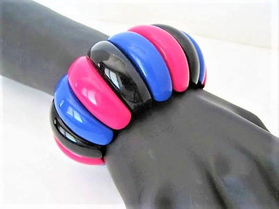 Black Pink Bangle -  Wide Layered -  Stretch Bracelet