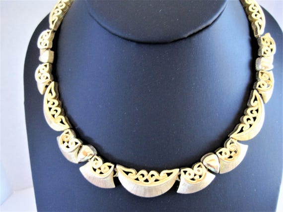 Tortolani Gold Necklace, Signed Mid Century, Antique Gold, Gold Filigree, Collectible Tortolani