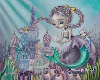 Love Letter from The Surface LIMITED EDITION print Simona Candini pop surrealism big eyes art mermaid fantasy merkitty mercat seascape