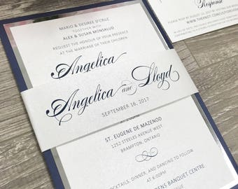 Silver or Gold Foil Belly Band Wedding Invitation / Navy silver and gold wedding invitation / fully color customizable!