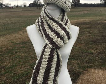 Ladder Scarf and Hat Crochet Pattern