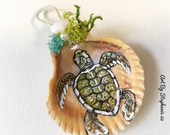 Original handpainted baby sea turtle seashell art