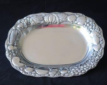 Vintage Ashleigh Manor Pewter Serving Platter Appetizer Platter Harvest Decor