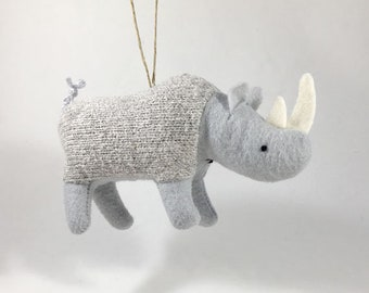 Rhino Ornament - eco-friendly knitted ornament, plush miniature, stuffed animal, In memory of Sudan, endangered species