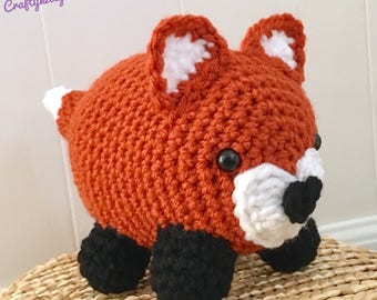 READY TO SHIP Stuffed Woodland Fox - Amigurumi, Toy, Plush