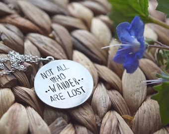 wanderlust necklace, hand stamped necklace, not all who wander are lost, birthday gift, unique gift, gift for her, travel necklace, pendant