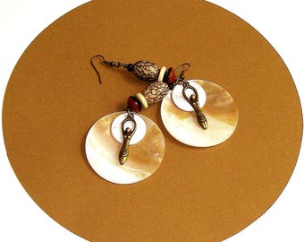 Antique Gold Goddess and Pearl Shell Dangles