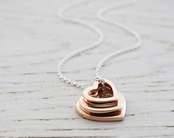 Triple Heart Necklace ~ Sterling Silver & Rose Gold
