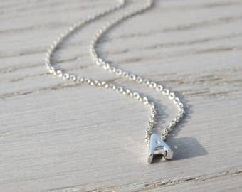 Tiny Silver Initial Necklace, Sterling Silver
