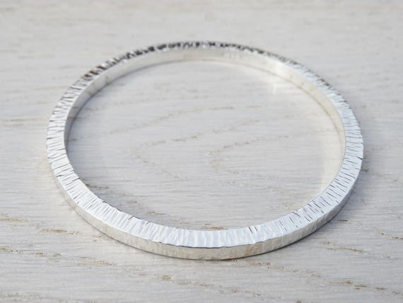 Chunky Silver Bangle - Solid Silver Textured Bangle - Sterling Silver