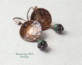 African Jade Earrings, Gemstone Drop on Hammered Copper Discs, Textured Metal Leopard Spots, Hammered Copper Jewelry