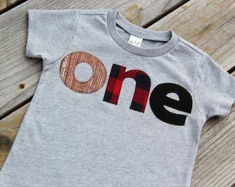 First Birthday Shirt, Woodland Birthday Shirt, Lumberjack Birthday Shirt, Buffalo Check Shirt, One Shirt