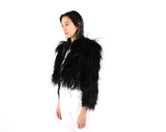 80s Ostrich Feather Fluffy Shaggy Fur / Rolling Stones Groupie Coat / Club Kid / Black Cropped Jacket