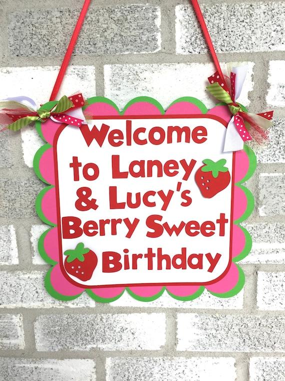 Il_570xn  sc 1 st  Catch My Party & Strawberry Door Sign Strawberry Welcome Sign Berry Door/Welcome ...