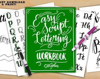 Easy Script Lettering Workbook - Learn Freehand Script Lettering - Learn to Letter - Lettering Practice Sheets - Lettering Worksheets