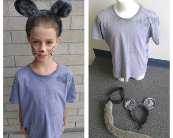 Upcycled Cinderella Mouse Costume, Grey Shirt Hand Dyed, Ears Fun Fur Headband, Tail Fun Fur Elastic Belt, Youth/Child Size