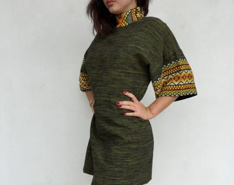 Green 70s embroidered mini dress