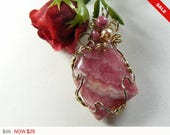 Rhodochrosite wire wrapped gemstone cabochon, 14kgf wire wrapped jewelry pendant, natural pink gemstone, polished back (w008)