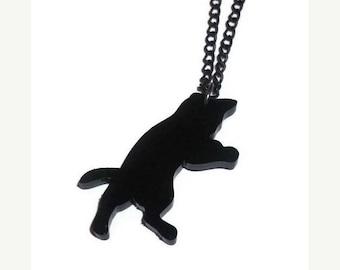 Cat Necklace, Cute Black Kitten Laser Cut Jewelry, Kawaii Kitten