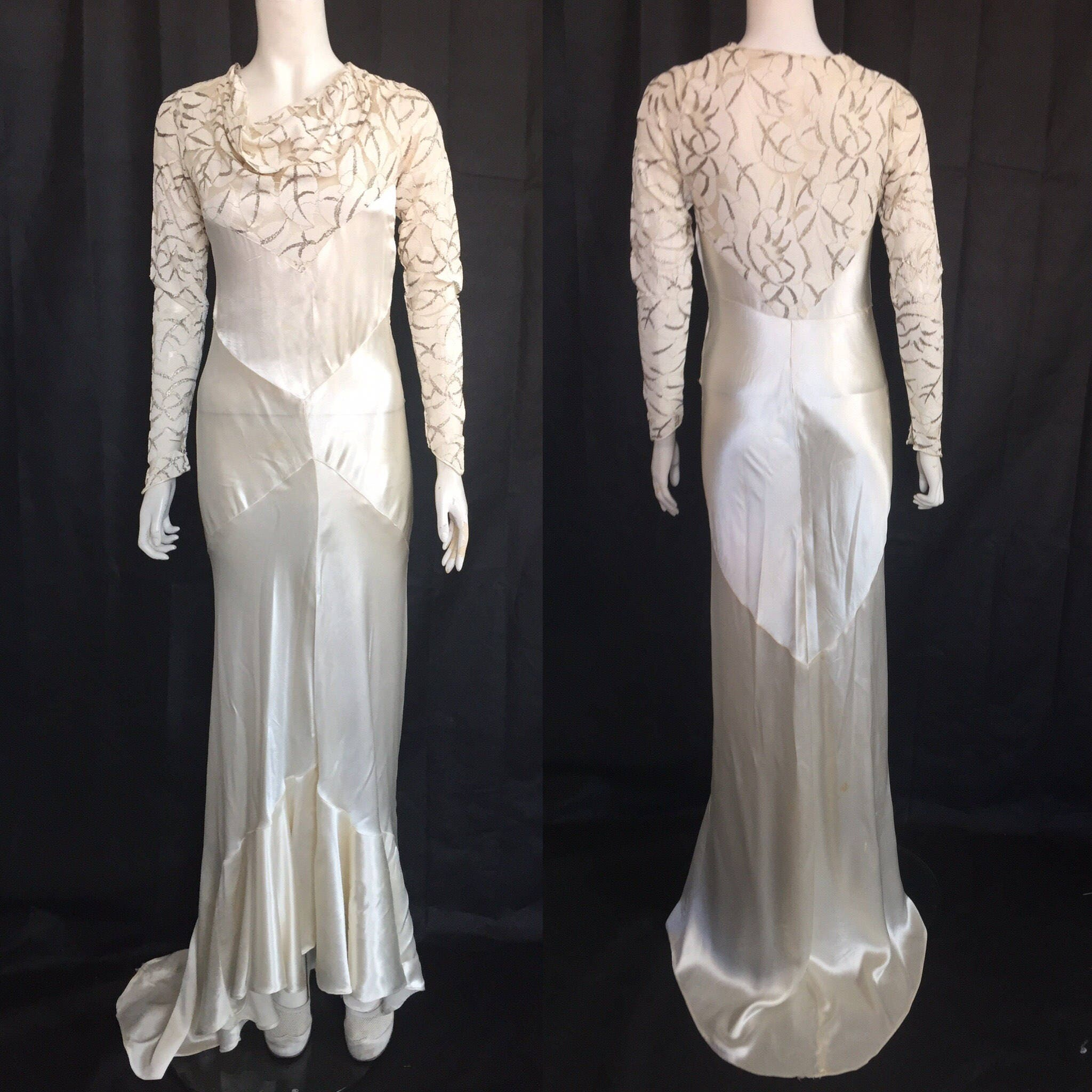 Cowl Neck Bridal Gown: 1930s Bias Cut Wedding Dress With Cowl Neck