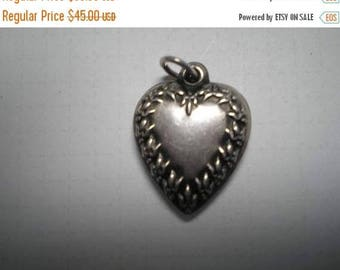 15% OFF SALE Vintage Sterling Puffy Heart Charm      Item No: 16259