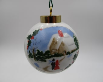 Vintage NOS 1992 Home for the Holidays Christmas Ornament, Limited Edition 92 Signed Winter Scene Christmas Ornament, Christmas Collectible,