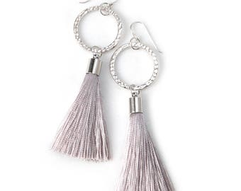 Light GREY Tassel COIN Statement Earrings - silk tassels silver or gold  - Next Romance Jewels Melbourne Australia boho luxe