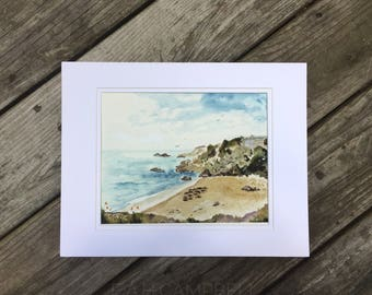 Original Watercolor Landscape Painting Matted 11x14 Seascape Beach Painting  - Seals Along Rt. 1 - by Em Campbell
