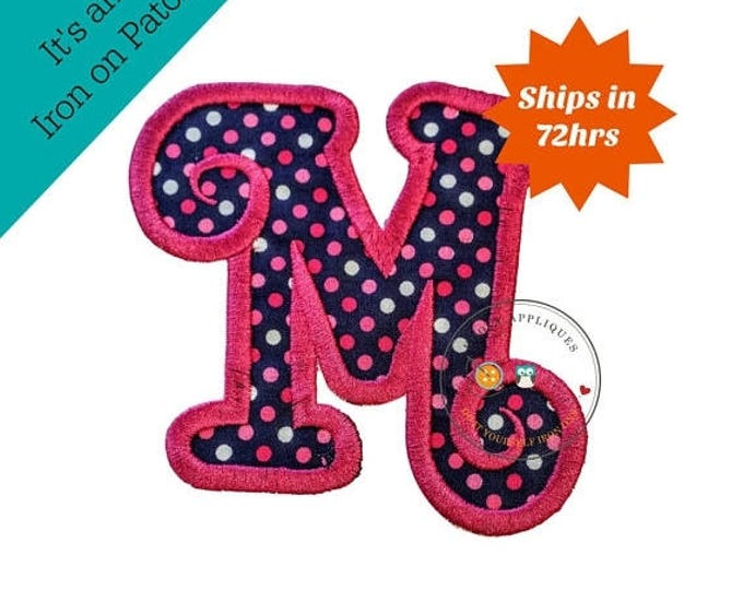 ON SALE NOW Chunky curls letter M iron on applique, Girls nautical monogram, iron on initial M, Blue and pink monogram letter M, Ready to sh