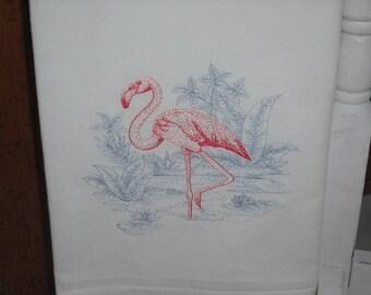 Flamingo and marsh grass Flour Sack Towel. Machine Embroidered.