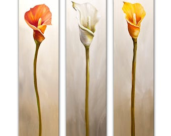 """Modern Calla Lily Floral PRINT ON CANVAS Orange Yellow Red Flowers Floral Art 36"""" x 48"""" by Osnat"""
